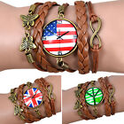 Women Butterfly Decoration Bracelet Faux Leather Weave Bangle Wristband Natural