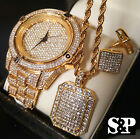 MEN HIP HOP ICED OUT GOLD PT LAB DIAMOND WATCH & NECKLACE & EARRINS  COMBO SET