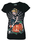 DARKSIDE CINDERELLA CINDERS ACDC TATTOO BLACK T SHIRT PUNK ROCK GOTH PUMPKIN