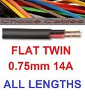 12v/24v Automotive 2 Core Flat Twin Thinwall Cable 0.75mm 14A Amp Auto Car Wire