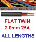 2mm Flat Twin Automotive Cable 2.0mm 25A Amp 12v 24v Car Boat Thinwall Twincore