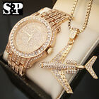 New Men Hip Hop Iced Out Lab Diamond Watch & Airplane pendant Necklace Gift Set image