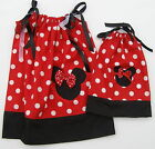 """LOVEFEME Minnie Mouse Pillowcase Dress Girls & 18"""" Doll Size 1T,2T,3T Cotton"""