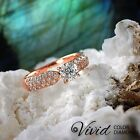 Pave Diamond Engagement Ring 1.59 CT SI/G-H 14k Rose Gold Band Size 5 Enhanced