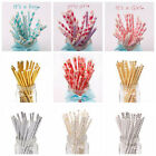 25x Wedding Stripe Polka Dot Retro Vintage Party Paper Drinking Straws Theme
