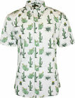 Run & Fly Mens Cactus Print Short Sleeved Shirt Vintage Retro Indie 80s