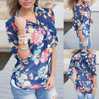 Women T-Shirt Folral Printed Long Sleeve Deep V-Neck Blouse Casual Sexy Top Tee