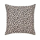 Dalmation Ink Beige Black Spot Animal Print Pillow, Dot Print Decorative Pillow