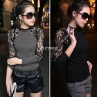 Fashion Womens Lady Lace T-shirt Long Sleeve Shirt Crew Neck Tops Blouse