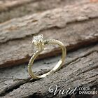 Pave Diamond Engagement Ring 1.06 CT SI G-H 14k Yellow Gold Size 6 Enhanced