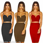 Ladies Womens 2 Piece Sexy V Bralet Bodycon Stretch Ribbed Skirt Outfit Set 8-14