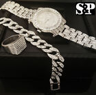 MEN HIP HOP ICED OUT RAPPER CZ WATCH & STAINLESS STEEL RING & BRACELET COMBO SET image