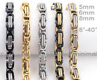 5mm 6mm 8mm Men Women Stainless Steel Byzantine Box Chain Necklace Bracelet