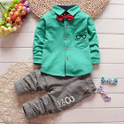 1-3T Boys Clothing Sets With a Bow Spring/Fall Shirt+Pants Causal Outfits Green