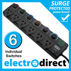 6 way Surge Protected Power Board with Individual Switches Overload Protector