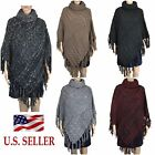 Womens Chunky Cable Knit Turtleneck Batwing Poncho Cape Sweater with Tassles