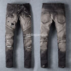 New Mens France Style *Black *Moto Pants *Destroyed *Biker JEANS Trousers B1023C