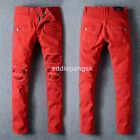 New Mens France Style Moto Pants Patches Red Skinny Biker Jeans Trousers B1028C