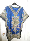 LADIES PLUS SIZE BEACH KAFTAN TUNIC TOP blue or green fits size 16 to 30