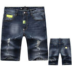 New Mens Italy Style Distressed Destroy *Moto Pants Torn Blue Shorts JEANS P501T