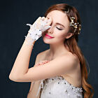 New Flower Crystal Wedding Glove Girls Evening Party Bridal Gloves Fingerless