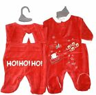 BABY BOYS GIRLS SANTA SLEIGH FIRST CHRISTMAS BABY GROW SLEEP SUIT BODYSUIT