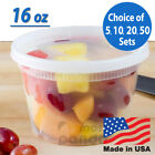 Внешний вид - 16oz Heavy Duty Medium Round Deli Food/Soup Plastic Containers w/ Lids BPA free