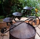 Vintage Wrougt Iron Candle Holder Metal Table Ornate Art Deco Goth Lighting