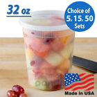 Внешний вид - 32oz Heavy Duty Large Round Deli Food/Soup Plastic Containers w/ Lids BPA free