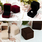 Small Mini Square Jewelry Box Ring Case Soft Velvet Package Display Holder Gift