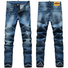 New Mens Italy Style *Distressed *Destroy Pants Slim Blue JEANS Trousers D1360T