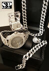 MEN HIP HOP ICED OUT CZ WATCH & RING & EARRINGS & BRACELET & NECKLACE COMBO SET image
