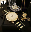 MEN ICED HIP HOP BLACK LIVES MATTER WATCH & NECKLACE & EARRING BLING COMBO SET  image