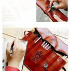 Vintage Roll Up PU Leather Pencil Pens Storage Bag Make Up Brush Pouch Case