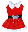Dog Life Mrs Claus Santa Suit for Dogs & Puppies with Seqins and Belt Detail