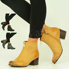 NEW WOMENS LADIES ANKLE BOOT FRONT SIDE ZIP MID HEEL BOOTS SHOES SIZE UK 3-8
