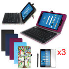 For AT&T Trek 2 HD 6461A 8 inch Bluetooth Keyboard Case Cover + 3 Pcs Protector