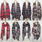 Plaid and Houndstooth Double Sided Blanket Scarf Oversized Thick Wide Shawl Wrap