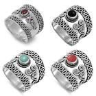 Bali Ring New .925 Sterling Silver Wide Band
