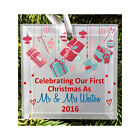 Personalised Couples Mr Mrs Glass 1st Christmas Hanging Tree Ornament Decoration