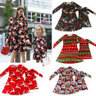 Women Girl Kid Adult Xmas Party Dress Christmas Long Sleeve Clothes Set Gifts