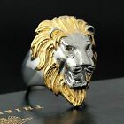 Men Large Gold Silver 316L Stainless Steel Lion King Head Ring Leo Wedding Band