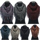 Women's Chunky Cable Knit Fringe Infinity Cowl Scarf Crochet Tassel Neck Warmer