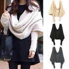 Women Men Autumn Winter Warm Knitted Wrap Scarf Cape Shawl With Sleeves