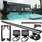 "50Inch 250W CREE+4""18W LED Light Bar+Mounting Bracket For Jeep Wrangler JK 07-15"