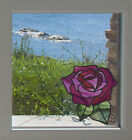 """Clr:wnd - Rose -d1- Stained Glass Style Vinyl Window Decal ©yydc (5""""w X 5.3""""h)"""