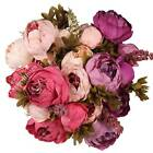 Bouquet Vintage Artificial Fake Peony Silk Flower Hydrangea Room Wedding Favors