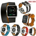 Genuine Leather Band Strap Bracelet Single/Double Buckle Tour For Apple Watch