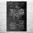 Chrysler 426 Hemi V8 Engine Poster Patent Art Print Gift Car Truck Automotive