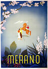 Italy Merano, Old Vintage Travel Ad, Antique Poster, HD Print or Canvas